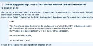 """Eigenartiger Vorgang beim Webhoster und Domänenregistrar """"All-Inkl.com"""""""