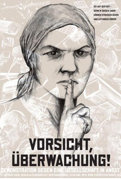 Die Fernmeldeüberwachung soll angepaßt werden, schreibt Polizei24.ch (Plakat: Vorratsdatenspeicherung.de