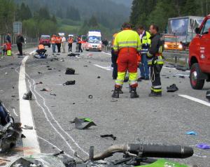 Schwerer Motorradunfall bei Splügen (Foto: Kapo GR)