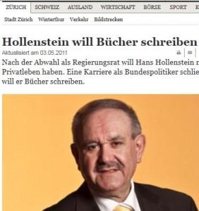 Hans Hollenstein bekundete öffentlich, er wolle nach seiner Abwahl nun Bücher schreiben. Nun wird er unversehens vom Bundesrat zum Präsident der PostCom ernannt. (Bildschirmfotoausriß: Tagesanzeiger)