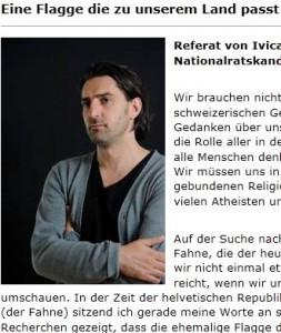 """Ivica Petrušić, Vizepräsident des Vereins """"Secondo Plus"""" und SP-Nationalratskandidat will nicht nur eine neue Landeshymne für die Schweiz: Er fordert auch die Abschaffung der Schweizerflagge mit dem christlichen Kreuz"""