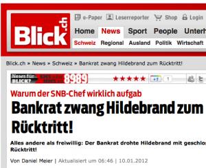 Nach den Enthüllungen in der Hildebrand-Affäre, die Kantonsrat Hermann Lei weitergab, ging der SNB-Chef keineswegs freiwillig (Bildschirmfotoausriß: Blick.ch)