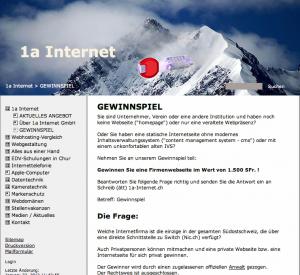 Neue Internetseite billig? Günstiger als eine neue Webseite (homepage) im Internet zu gewinnen, geht es nicht mehr: Gewinnspiel mit Verlosung durch Anwalt bei 1a Internet GmbH (Webdesign-Firma aus Chur)