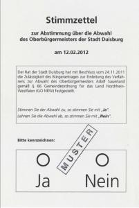 Wird der Duisburger Oberbürgermeister Adolf Sauerland abgewählt? Elemente direkter Demokratie werden auch in Deutschland hoffähig