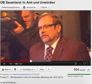 """Adolf Sauerland. Das ZDF (Zweites Deutsches Fernsehen) berichtet. """"In Amt und Unwürden"""""""
