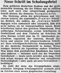 """Verbot der deutschen Schrift und Zwangseinführung der lateinischen Schrift durch Adolf Hitler: Vorbereitung für """"größere Aufgaben""""..."""