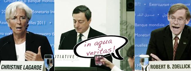Die Eurokrise: v.l.n.r. C. Lagarde (IWF), M. Draghi (EZB), R. Zoellick (WB)
