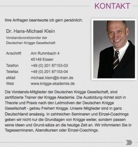 """Will anderen den Knigge beibringen: Dr. Hans-Michael Klein (Bildschirmfotoausriß der sog. """"Deutschen Knigge Gesellschaft"""")"""