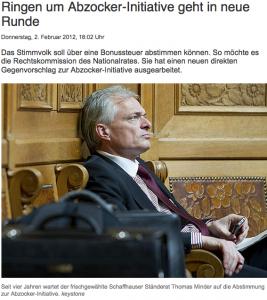 Thomas Minder sammelte die Unterschriften für die Abzockerinitiative: Doch kommt sie noch irgendwann vor das Volk? (Bildschirmfotoausriß: SF)