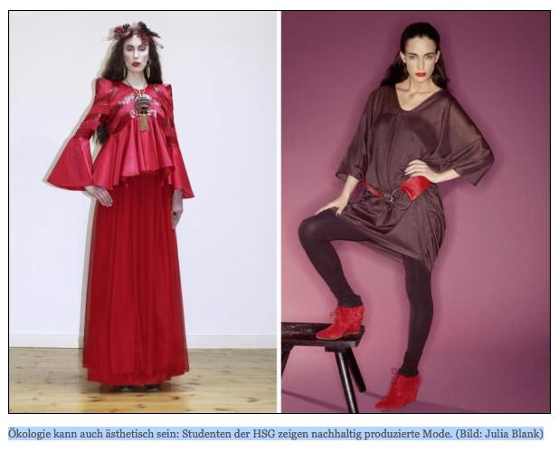 Öko-Mode aus St. Gallen: Doktorandin Kim Podner (Uni SG, Unidress) und Ilda Özalp (Red. 20 Min.) haben offenbar denselben Modegeschmack