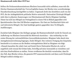 Sämtliche Schweizer Medien berichten über die abendlichen Eskapaden des umstrittenen Oberstaatsanwalts Martin Bürgisser. Es stellt sich wohl bald die Frage: Wann leitet Bürgisser ein Strafverfahren gegen sich selbst ein? (Bildschirmfotoausriß: Tagi)