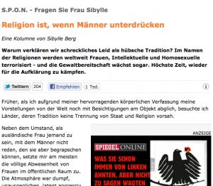 Sybille Berg wartet im Spiegel zum Beispiel mit Geschlechterkampf-Geschichten auf (Bildschirmfotoausriß: Spiegel.de)