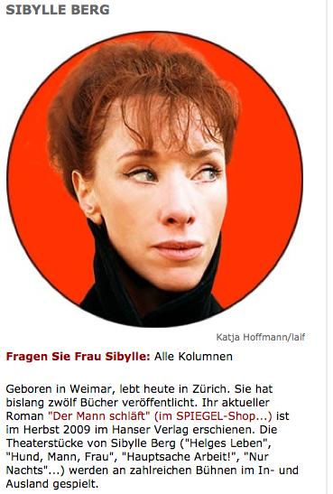 Sybille Berg macht sich mit dem Vergleich von Weltwoche und Stürmer lächerlich. (Bildschirmfotoausriß: Spiegel.de)