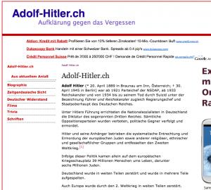 Die WOZ bzw. deren Autor Carlos Hanimann findet es offenbar schlimm, daß eine Seite wie Adolf-Hitler.ch mit Aufklärungsinhalten betrieben wird und versucht damit - hoffentlich vergeblich - einen thurgauischen Großrat (Hermann Lei jun.) zu beschmutzen.