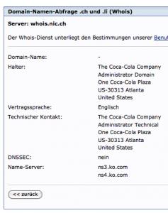 Inhaber von Schweizer-Musik.ch ist der Coca-Cola-Konzern...