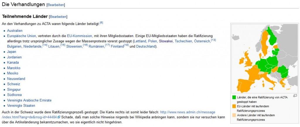 Falschdarstellung auf Wikipedia. In der Schweiz läuft gegenwärtig keine Ratifizierung des Acta-Abkommens