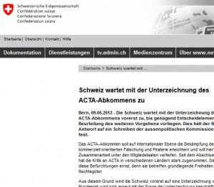 Acta Schweiz: Keine Ratifizierung, keine Unterzeichnung - Auf Wikipedia steht es anders
