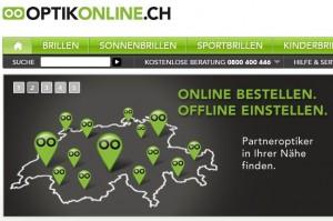 """Optikonline.ch - wer seine """"Ray Ban""""-Sonnenbrille vorher interaktiv anprobieren will (Bildschirmfotoausriß: Optik """"online"""")"""