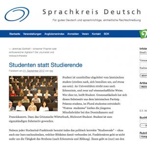Sprachkreis Deutsch, Bern: Studierende oder Studenten?