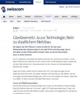 EWZ-Glasfasernetz Zürich: Ja zur Technologie, Nein zu staatlichem Netzbau - Abstimmung ist am 23.9.