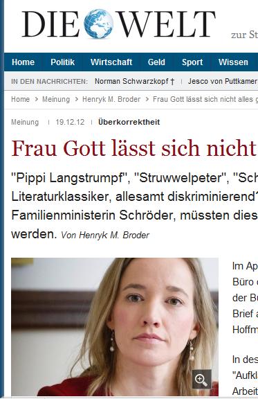 """Kristina Schröder: Nach ihrem Willen müßte auch """"Der Idiot"""" von Dostojeswski umgeschrieben werden."""