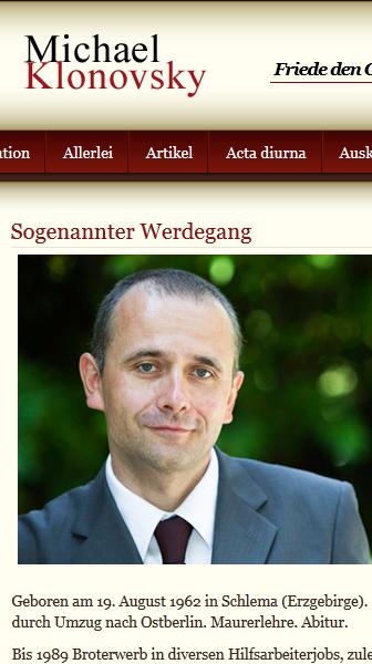 """Michael Klonovsky: Gemäß Wikipedia ein """"neurechter Kettenhund"""" (Bildschirmfotoausriß: offizielle Webseite, vgl. Verweis im Blogbeitrag)"""