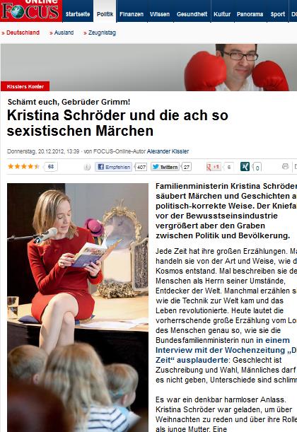 Kristina Schroeder Grimms Maerchen sexistisch