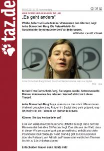 "Feministin Anke Domscheit-Berg lamentiert in der ""taz"" über das linke Wikipedia"