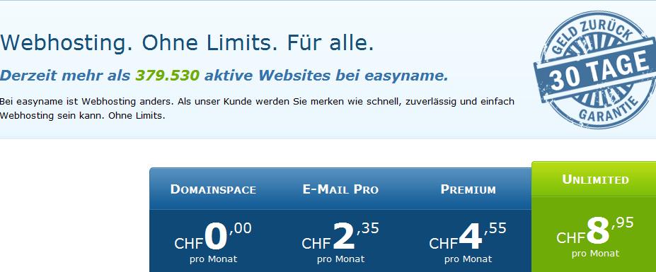 Easyname: Der Hosting-Anbieter macht die Abrechnung in Schweizerfranken möglich... (Bildschirmfotoausriß)