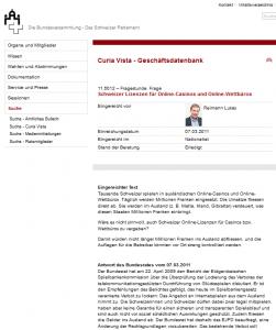Internetpoker / Internet-Glücksspiel ist auch ein Thema im Parlament. Besonders aktiv für eine liberale Regulierung ist hier Nationalrat Lukas Reimann