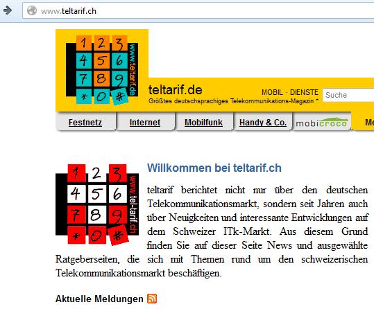 Komisch: Wer Teltarif.ch eingibt, wird auf Teltarif.de weitergeleitet. Was nutzen jemanden aus der Schweiz deutsche Telefontarif-Vergleiche? Genausogut könnte man Telefontarife aus den USA oder aus Afrika anzeigen... (Bildschirmfotoausriß: Teltarif)