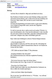 Wer auf Teltarif.ch zB die Rubrik Internet anklickt, der landet auf Teltarif.de. Einzig das Problem: Einem Bewohner der CH nutzen Tarifauskünfte von DE wohl wenig. Kein Wunder also, kotzen sich viele Teltarif.ch-Nutzer an. (Bildschirmfotoausriß: Teltarif)