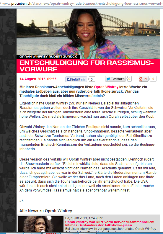 """Nur wenige """"Qualitätsjournalisten"""" griffen auf, daß Oprah Winfrey sich entschuldigte für die Rassismusattacken. (Bildschirmfoto ProSieben: SchweizBlog.ch)"""