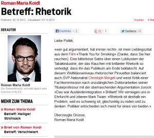 Brief von Roman Koidl (Bildschirmfotoausriß: Blick.ch) - hat er schon einmal Christopf Mörgeli reden gehört? Den brillianten Rhetoriker?