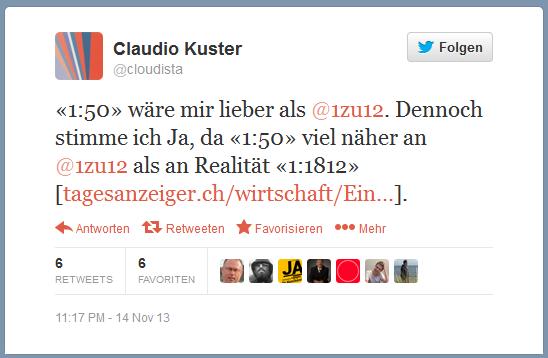 Bildschirmfoto: Claudio Kuster auf Twitter zur 1 zu 12-Intiative