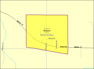 Karte der Stadt Monowi