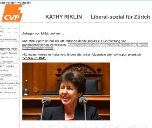 """Kathy Riklin schreibst im Logo ihrer Webseite """"liberal"""" und """"sozial"""". Sie sollte sich schämen."""