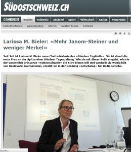 Larissa M. Bieler, die erste Frau in der Leitung einer bündner Zeitung ist offenkundig männerfeindlich eingestellt (Bildschirmfotoausriß: Südostschweiz-Konzern)