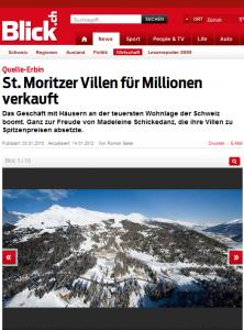 In der Schweiz wurde Schickedanz vor allen Dingen bekannt, als sie ihre Luxusvillen in St. Moritz veräußerte (Bildschirmfotoausriß: Blick.ch)