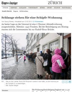 """Für Wohnungen an der Schipfe, die die linksregierte Stadt Zürich vermietet, stehen hunderte Leute Schlange... Und zwar zum """"Normalpreis"""" wollen diese Leute mieten. Nicht zum Kathy Riklin-Spezialpreis. (Bildschirmfotoausriß: Tagi)"""