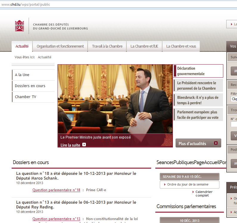 Der neue luxemburgische Premier heißt Bettel (Bildschirmfotoausriß: Chambre des Députés)