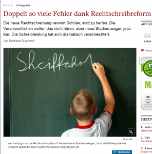 Welt-Artikel von Dankwart Guratzsch zum Rechtschreibreform-Desaster (Bildschirmfotoausriß)