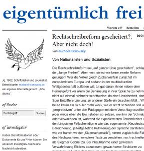 """Michael Klonovsky äußert sich auf """"eigentümlich frei"""" zu den Motiven der mißlungenen Rechtschreibreform (Bildschirmfotoausriß)"""