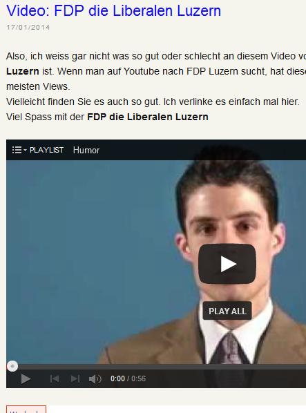 Max Ruchti schreibt über das das beliebteste FDP Die Liberalen-Video... (Bildschirmfotoausriß)