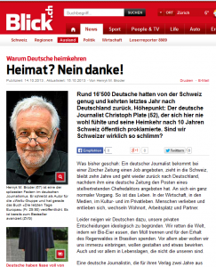 Christoph Plate: Wirklich platt und dumm äußert sich eine beleidigte Leberwurst und zieht über ein Land her, in welchem er sich nicht angenommen genug fühlte ... (Bildschirmfotoausriß: Blick.ch)