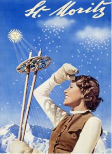 Der Schi-Tourismus läuft wieder besser: Historisches Plakat von St. Moritz