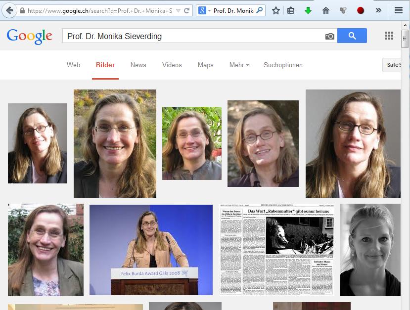 Was hat Akif Pirinçci Böses geschrieben? Prof. Dr. Monika Sieverding in der Google-Bildersuche (Bildschirmfotoausriß: Google.ch)