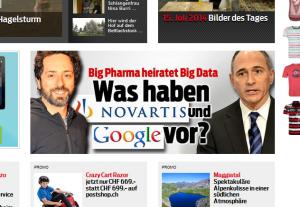"""Bildschirmfoto: """"Hochzeit"""" zwischen Google und Novartis (Blick.ch)"""