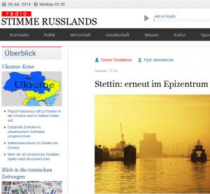 """""""Stimme Rußlands"""" zur Ukraine-Krise (Bildschirmfotoausriß)"""