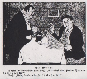 """Zeichnung in einer Zeitung zum Thema des früher weiter verbreiteten Verzehrs von Katzen in der mitteleuropäischen Küche. Quelle: Zeitung """"Das Volk"""", 20.3.1914"""